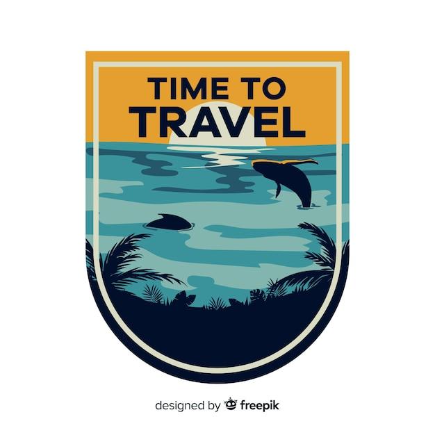 Flat design vintage travel label Free Vector