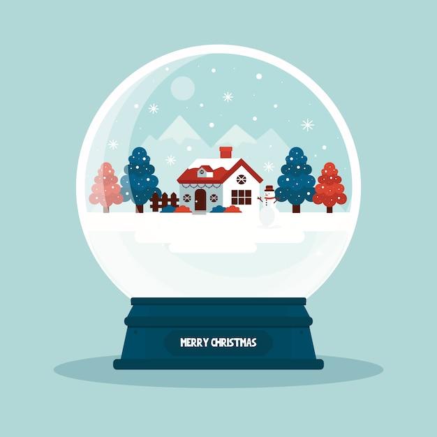 フラットなデザインの壁紙クリスマス雪だるまグローブ 無料ベクター