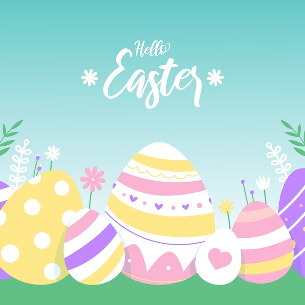 Flat design wallpaperhappy easter day with eggs Free Vector