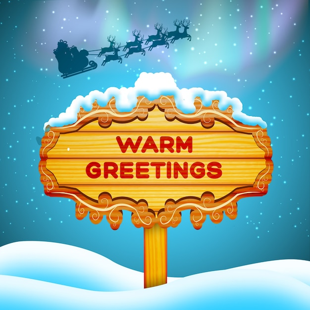 Flat design warm greetings wooden sign and santa claus in sky background vector illustration Free Vector