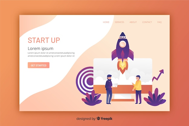 Flat design of a web site landing page Free Vector