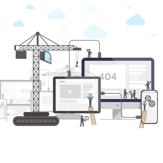 Flat design of website under construction. Premium Vector