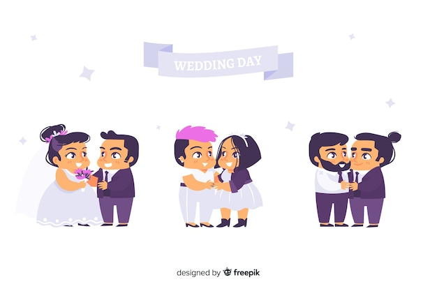 Flat design of wedding couple collection Free Vector