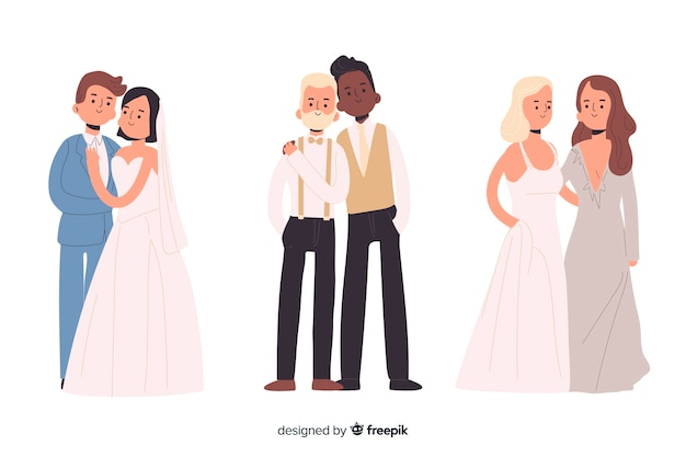 Flat design wedding couple collection Free Vector