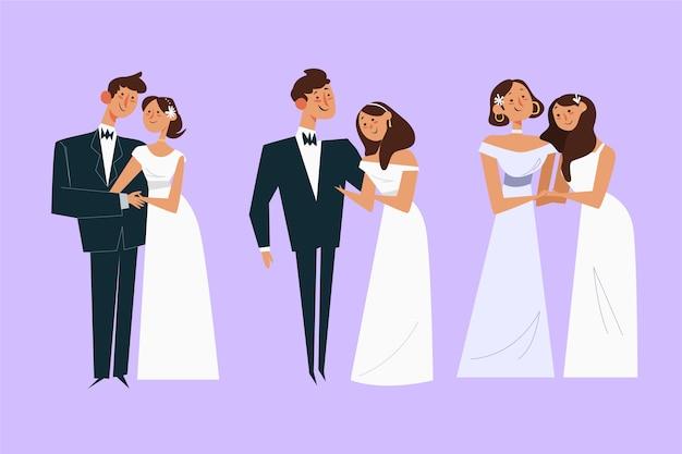 Flat design wedding couple concept Free Vector