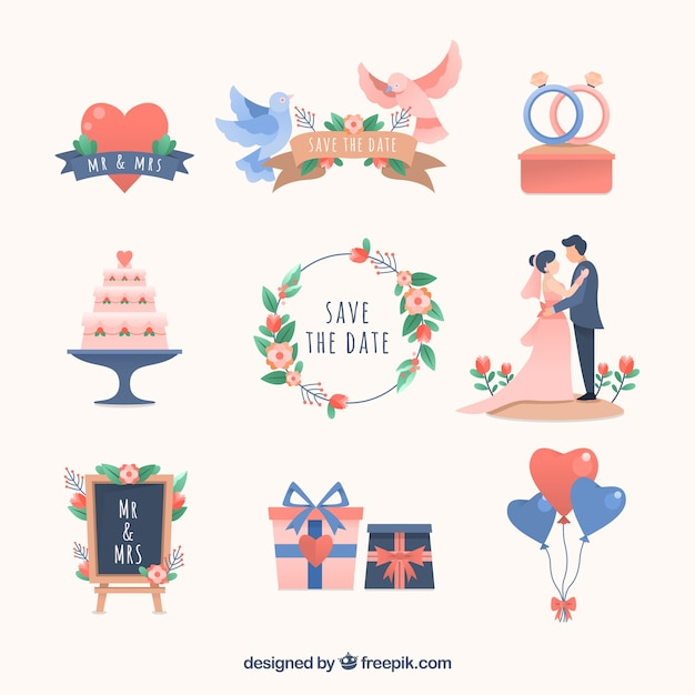 Flat design wedding elements collection Free Vector