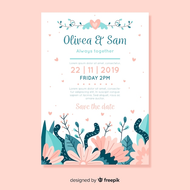 Flat design wedding invitation template with flowers Free Vector