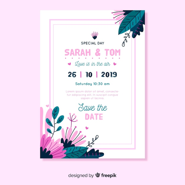 Flat design wedding invitation template with pink frame Free Vector