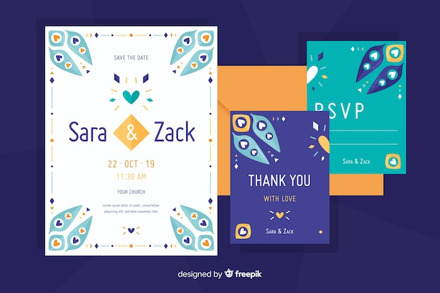 Flat design wedding invitation with cute elements Free Vector