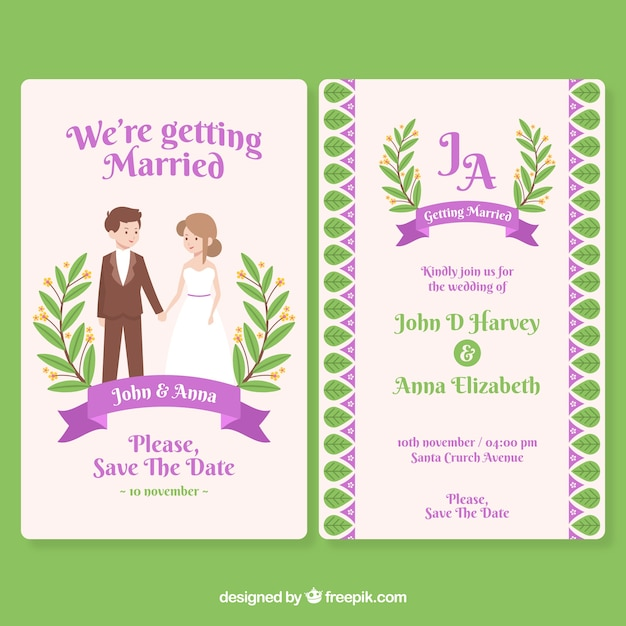 Flat design wedding invitation  Free Vector