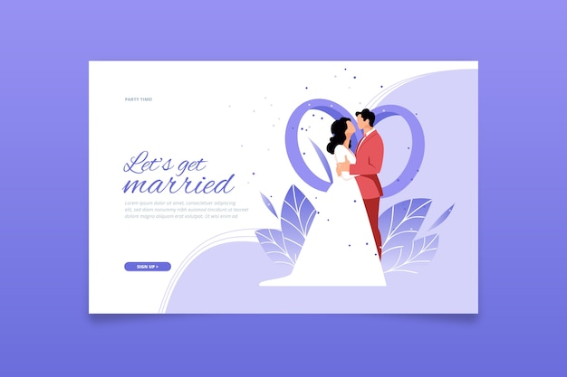 Flat design wedding landing page template Free Vector