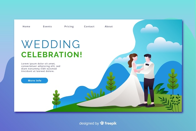 Flat design wedding landing page with characters Free Vector