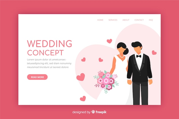 Flat design wedding landing page Free Vector