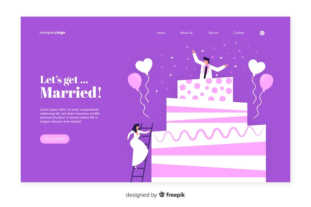 Flat design of wedding landing page Free Vector