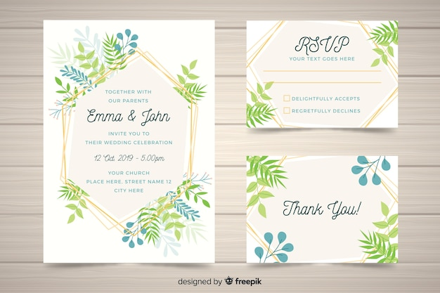 Flat design wedding stationery template Free Vector