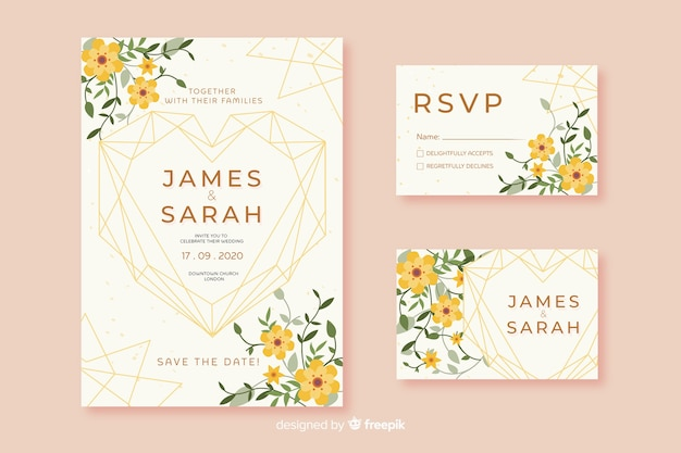Flat design of wedding stationery template Free Vector