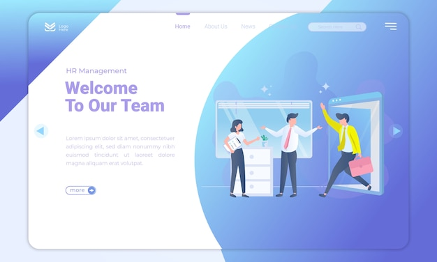 Flat design welcome to our team on landing page Premium Vector