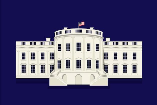 Casa bianca design piatto su sfondo scuro Vettore gratuito