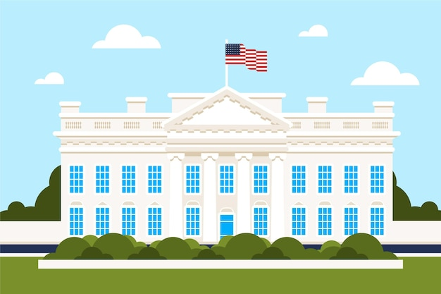 Flat design white house in daylight Free Vector