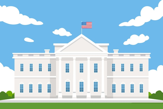 Flat design white house front view trademark Free Vector
