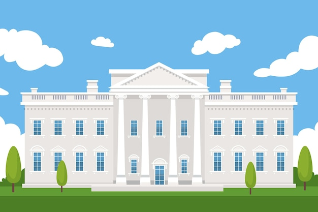Flat design white house front view and trees Free Vector