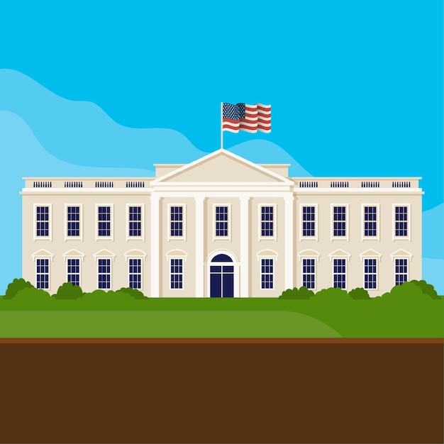 Flat design white house front view Free Vector