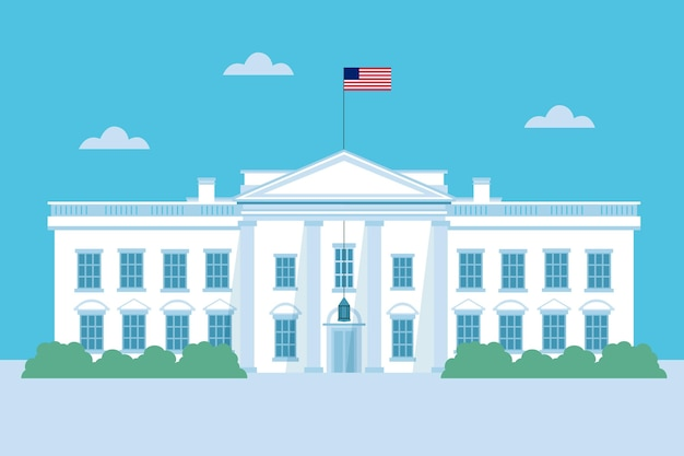 Flat design white house and sky Free Vector