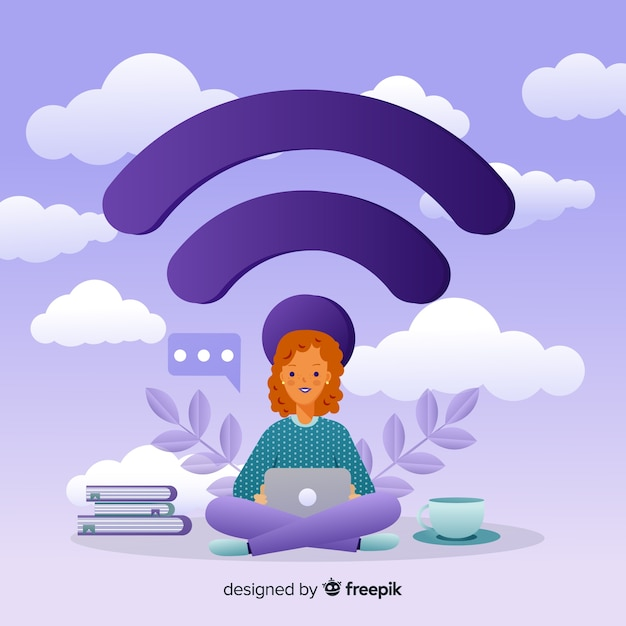 Flat design wifi network concept Free Vector