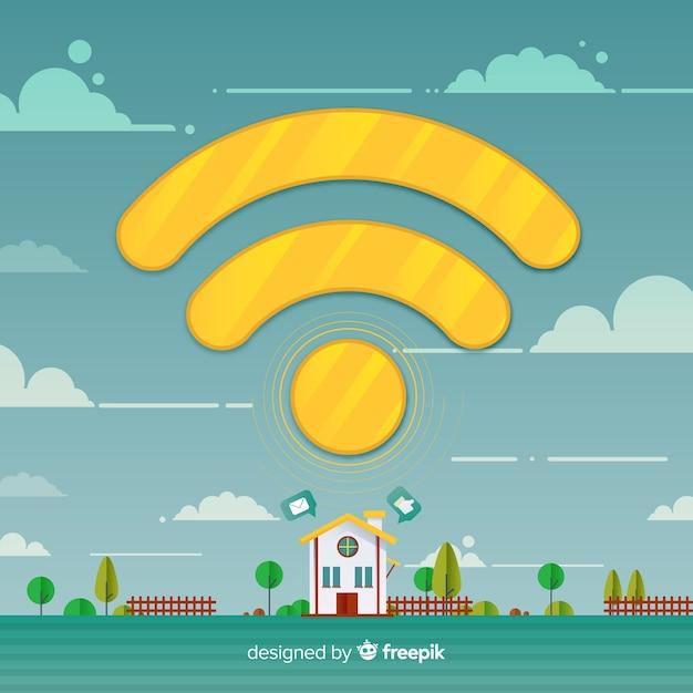 Flat design wifi network concept Free Vector