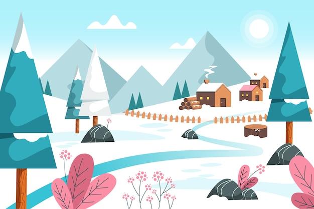 Flat design winter background Free Vector