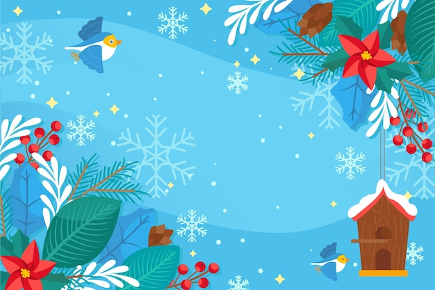 フラットなデザインの冬の背景 無料ベクター