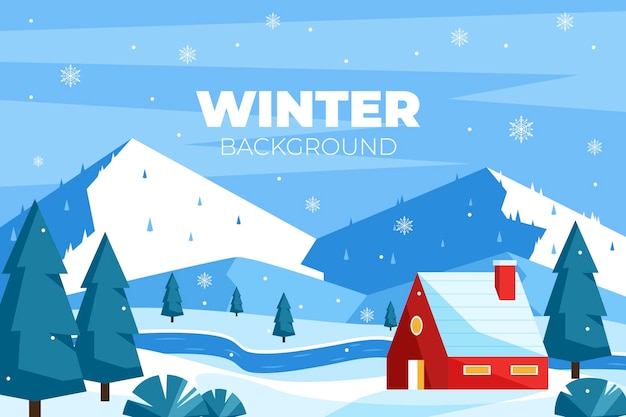 Flat design winter background Free Vector