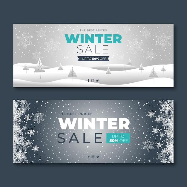 Modello di banner invernali design piatto Vettore gratuito