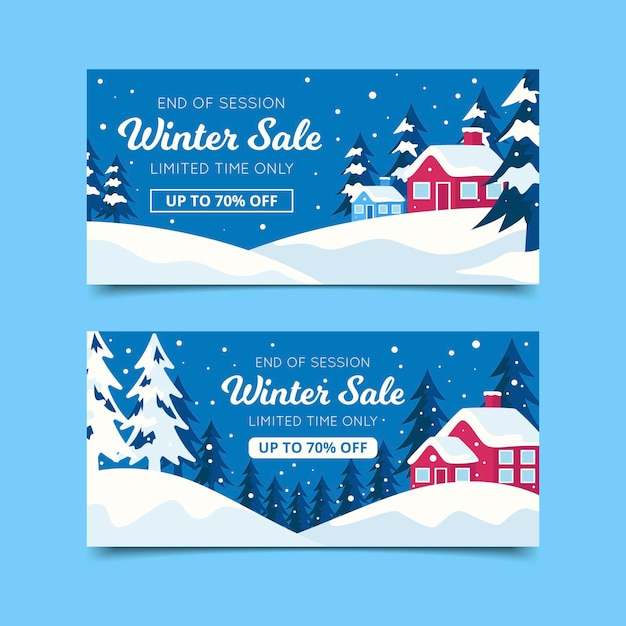 Flat design winter banners template Free Vector