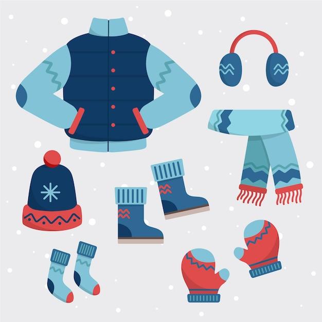 평평한 디자인의 겨울 옷과 필수품 무료 벡터