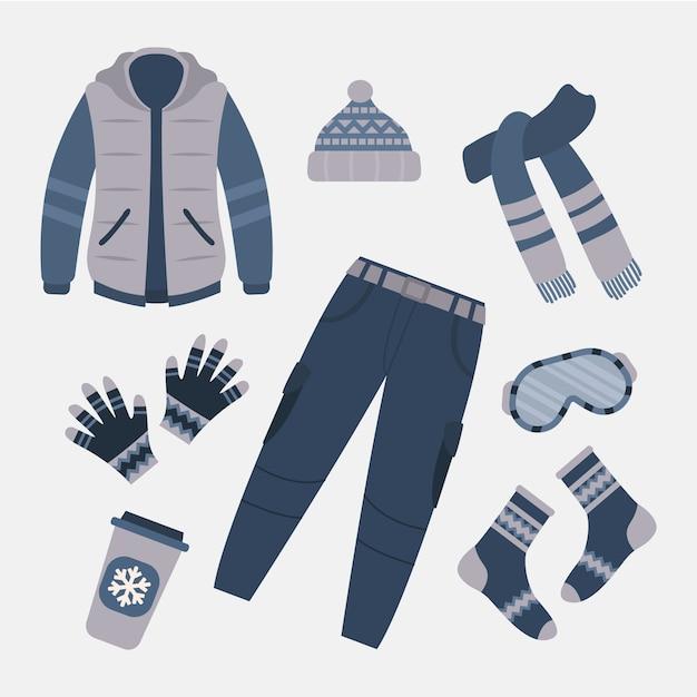 Плоский дизайн зимней одежды и предметов первой необходимости Premium векторы