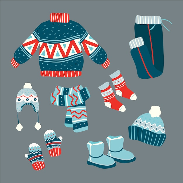 Flat design winter clothes and essentials Free Vector