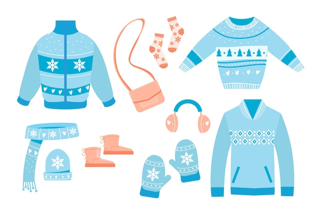 Flat design winter clothes and essentials Free Vector