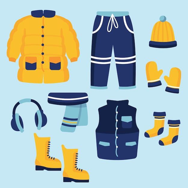 Vestiti invernali ed elementi essenziali di design piatto Vettore gratuito