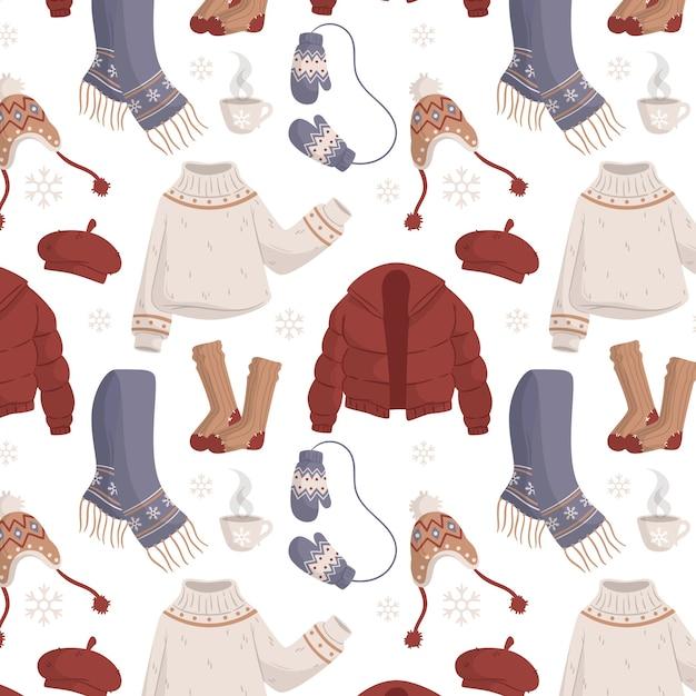 Плоский дизайн зимней одежды и предметов первой необходимости Бесплатные векторы