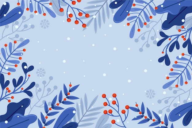 Flat design winter flowers background with copy space Premium Vector