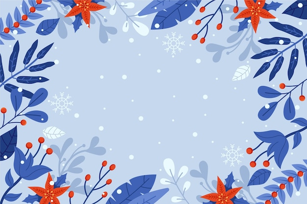 Flat design winter flowers background with empty space Premium Vector