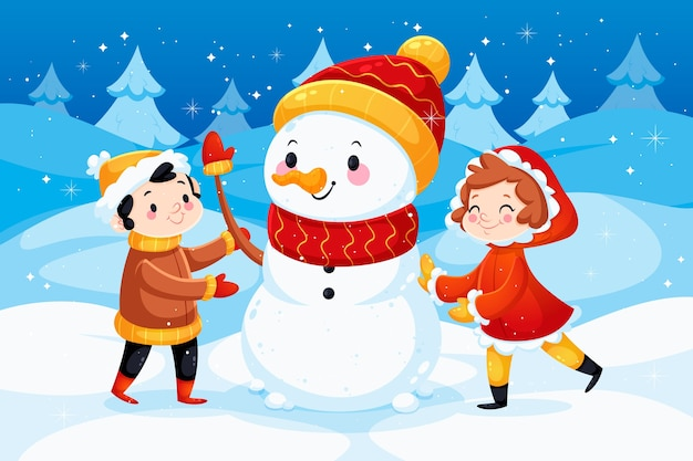 Flat design winter illustration with snowman Free Vector