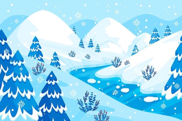フラットなデザインの冬の風景の背景 無料ベクター