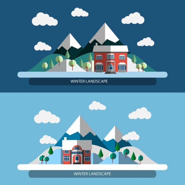 Flat design winter Landscape Banners Free Vector