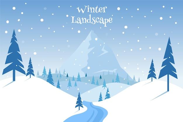フラットなデザインの冬の風景のコンセプト Premiumベクター