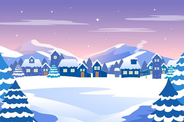 Flat design winter landscape concept Free Vector