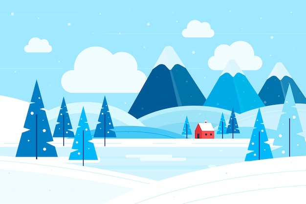 Flat design winter landscape concept Free Vector