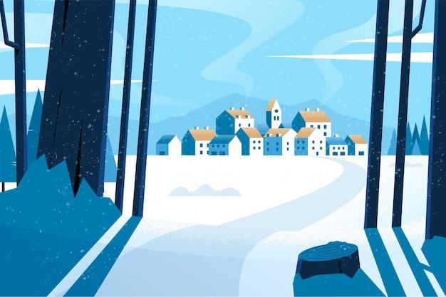 フラットなデザインの冬の風景の壁紙 無料ベクター