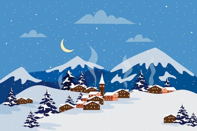 밤에 산으로 평평한 디자인 겨울 풍경 프리미엄 벡터